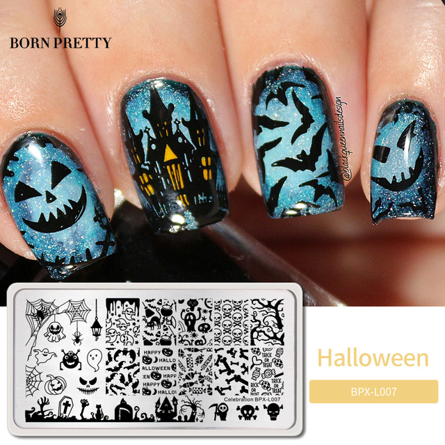 BORN PRETTY Halloween Rectangle Stamp Plates 12*6cm Nail Art Image Stamping Template Celebration BPX L007
