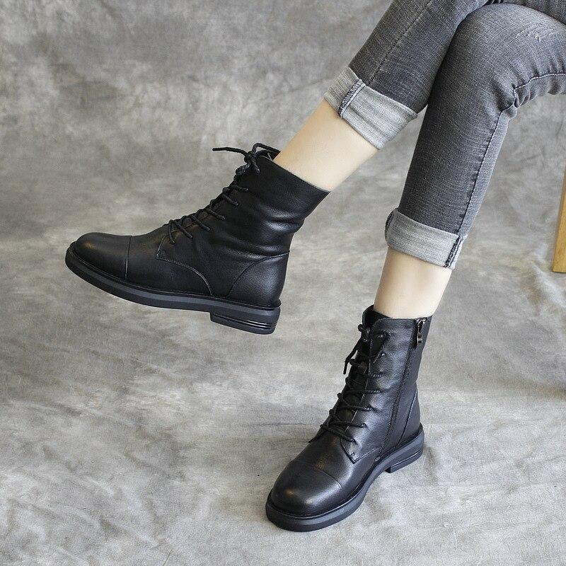 جلد طبيعي المرأة مارتن الأحذية أسود حذاء كاجوال الشتاء العلامة التجارية النساء دراجة نارية الأحذية الجلدية 2019 منخفضة كعب حذاء من الجلد لينة-في أحذية الكاحل من أحذية على  مجموعة 1