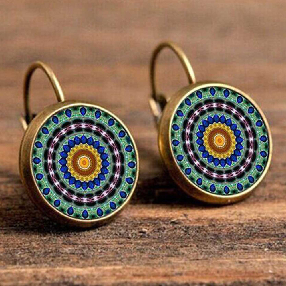 Hb2596f66c78741bb8da46c728911373de - FSUNION Boho Flower Drop Earrings For Women Vintage Jewelry Geometric Pattern Round Earings Bijoux boucles d'oreilles bohemia