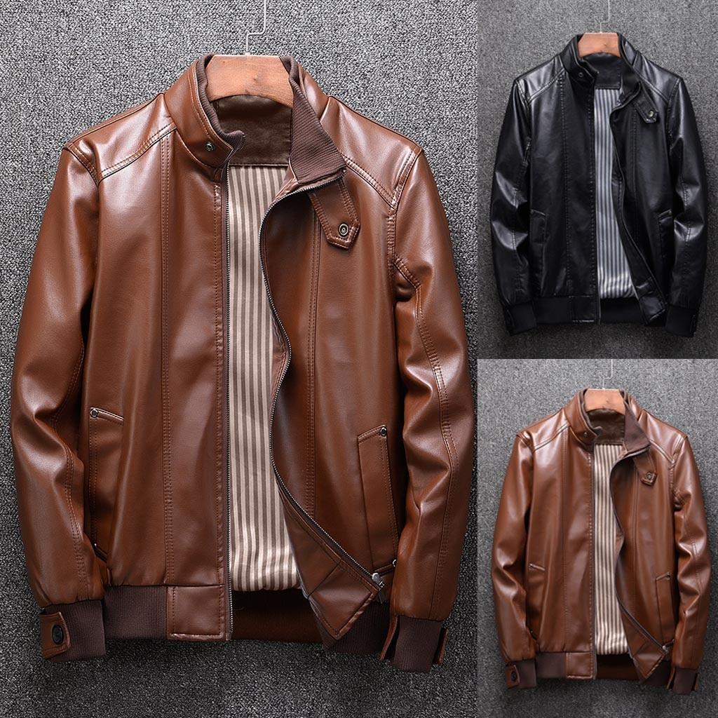 Hb2598aca69ba44f6b8fb9f7e56a795da0 Zipper Closure for Men Leather Jacket Autumn Winter Warm Fur Lining Lapel Leather outerwear layer дубленка мужская кожаная Coat