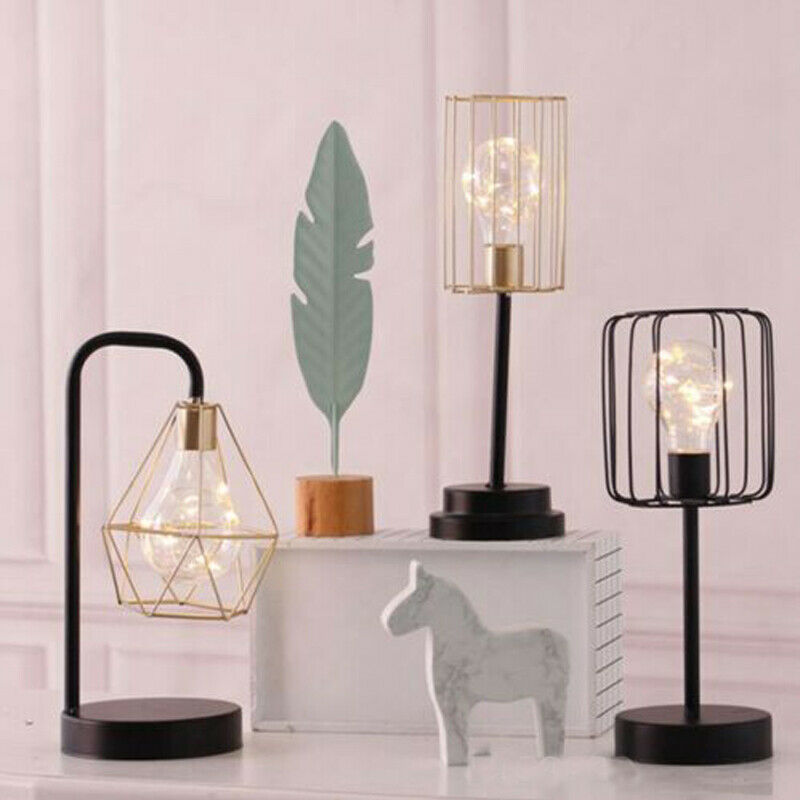 Newest Retro Black Geometric Wire Industrial Led Light Bulb Bed Side Batterie Lampe Creative Geometric Wrought Iron Night Light