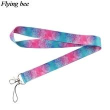Flyingbee Yoga starry sky Keychain Cartoon Cute Phone Lanyard Women Fashion Strap Neck Lanyards for ID Card Keys X0532