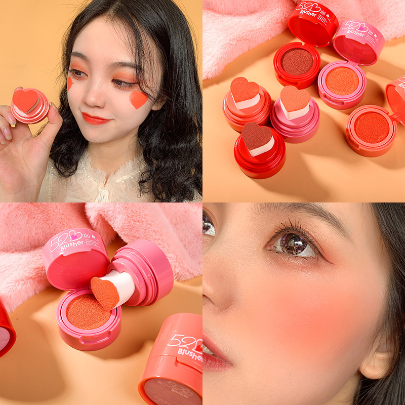 Face Blusher Powder Makeup Girl Heart 520 Love Blush Net Red With The Kiss On The Sweetheart Seal Cushion Blusher Palette TSLM2