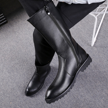 New Fashion Winter Boots Men All Black High Tops Genuine Leather Boots Zipper Pointed Toe Men Shoes Fur Lined Warm Cotton Boots