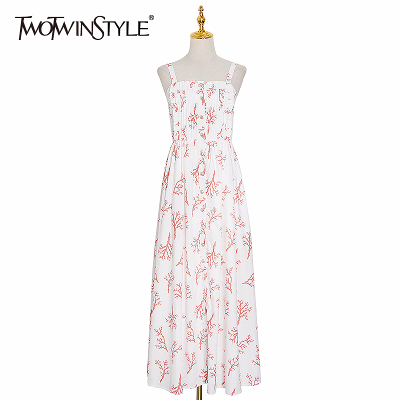 TWOTWINSTYLE Elegant Print Dresses Female Square Collar Spaghetti Strap High Waist Side Split Hit Color Summer Dress Women Tide