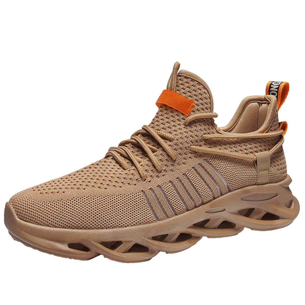 SAGACE Men's outdoor activities fly woven breathable running fashion sneakers mesh soft non-slip casual shoes solid color