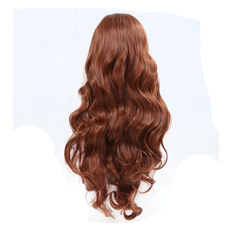 Sexy Long Heat Resistant Inclined Bang Big Wavy Auburn Red Cosplay Full Wig Wigs