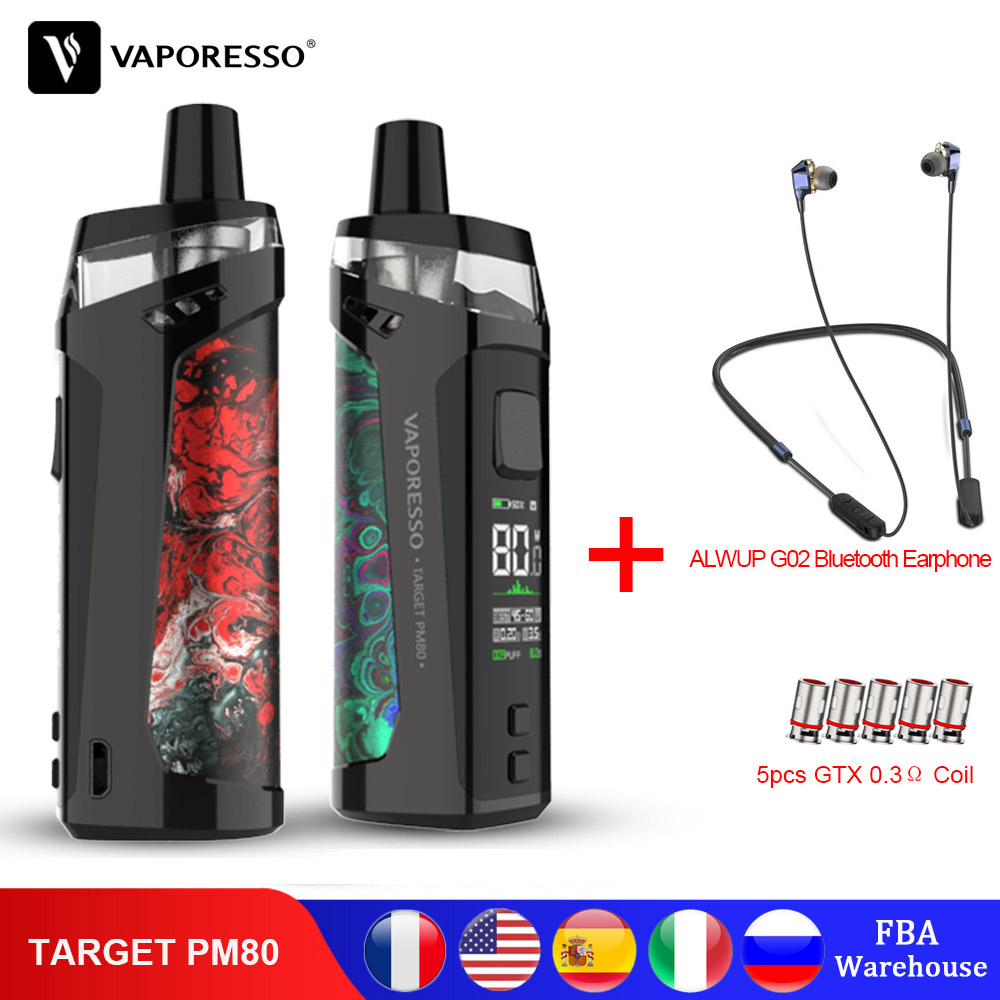 Original Vaporesso TARGET PM80 POD Vape Electronic Cigarette Kit With Built-in 2000mAh Battery GTX MESH 0.2&0.3ohm Coil Core