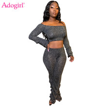 Adogirl Metallic Glitter Ruched Two Piece Set Women Fashion Sexy Off Shoulder Long Sleeve Crop Top Casual Pants Female Suits shining knoted front metallic crop top