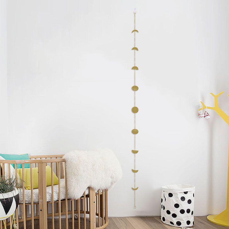 Moon Phase Garland Chains Celestial Boho Shining Wall Hanging Decor Home Office E65B