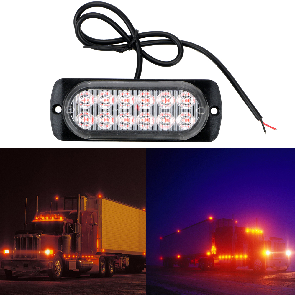 LEEPEE <font><b>LED</b></font> Warning Light Signal <font><b>Lamp</b></font> 12 <font><b>LED</b></font> Car Truck Emergency Side Strobe 18W Car-styling Car Lights Assembly image
