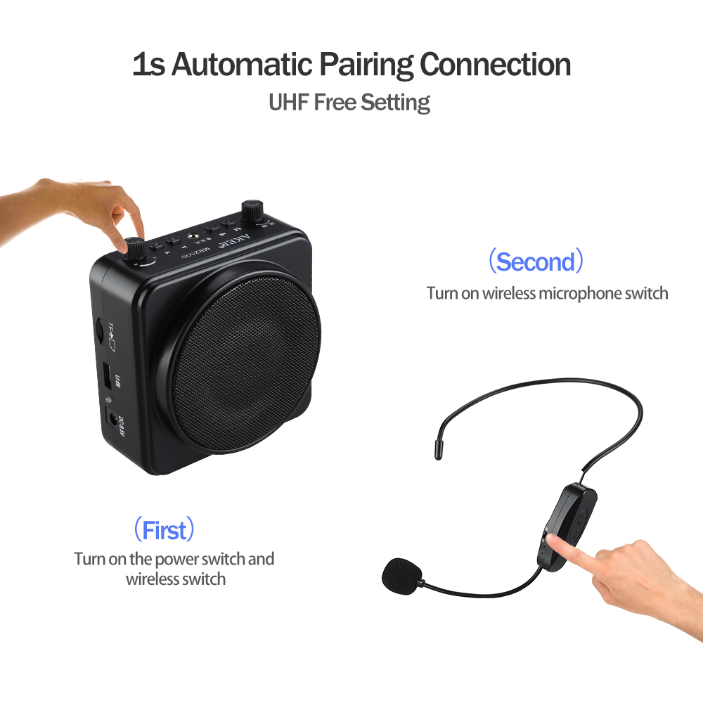 AKER MR2500W 22W BTOOTH Portable PA Voice Amplifier Booster UHF Headset Mic