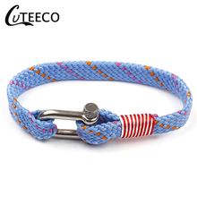 CUTEECO Anchor Black Leather Bracelet Men Wristband Fashion Jewelry 2019 U-shaped Buckle Bracelets Stainless Steel Screw