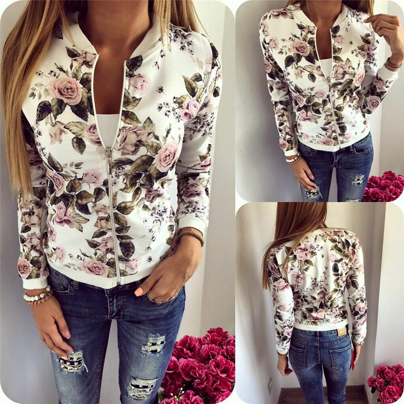 Women Jacket Girls Tops Flower Print Casual Baseball Sweatshirt Thin Long Sleeves Coat Jackets