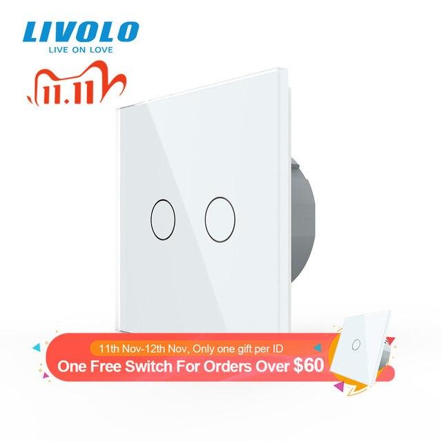 Livolo האיחוד האירופי תקן 2 כנופיית 1 דרך קיר מגע אור מתג, קיר כוח חיישן מתג, 7 צבעים קריסטל זכוכית פנל, עם led תאורה אחורית