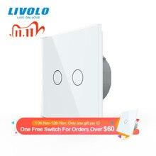 Livolo Eu Standaard 2 Gang 1 Manier Muur Touch Light Switch,Wall Power Sensor Schakelaar, 7 Kleuren Crystal Glass Panel, Met Led Backlight