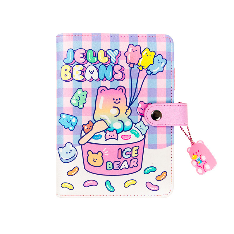 Cute INS Candy Bear PU Spiral Diary A6 Planner Colorful Cartoon Agenda Scheduler Book 120 Sheets Children Gift