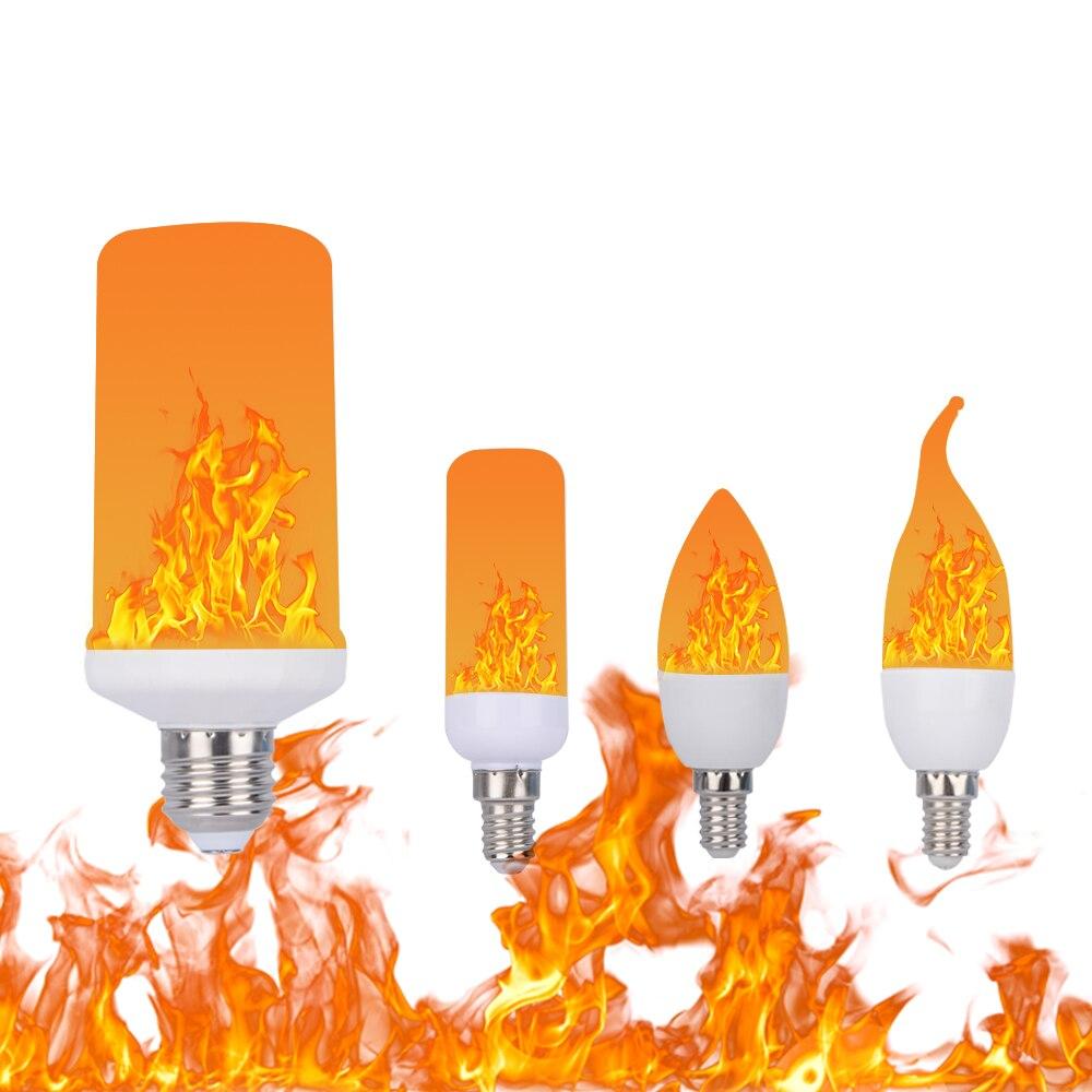 New Design 3 Modes E12/E14/E26/E27 LED Flame Bulb Gravity Sensor Effect Fire Flickering Light AC85-265V Emulation Decor LED Lamp