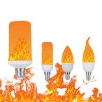 Nuevo diseño 3 modos E12/E14/E26/E27 bombilla LED llama efecto sensor de gravedad fuego parpadeo luz AC85-265V decoración de emulación lámpara LED