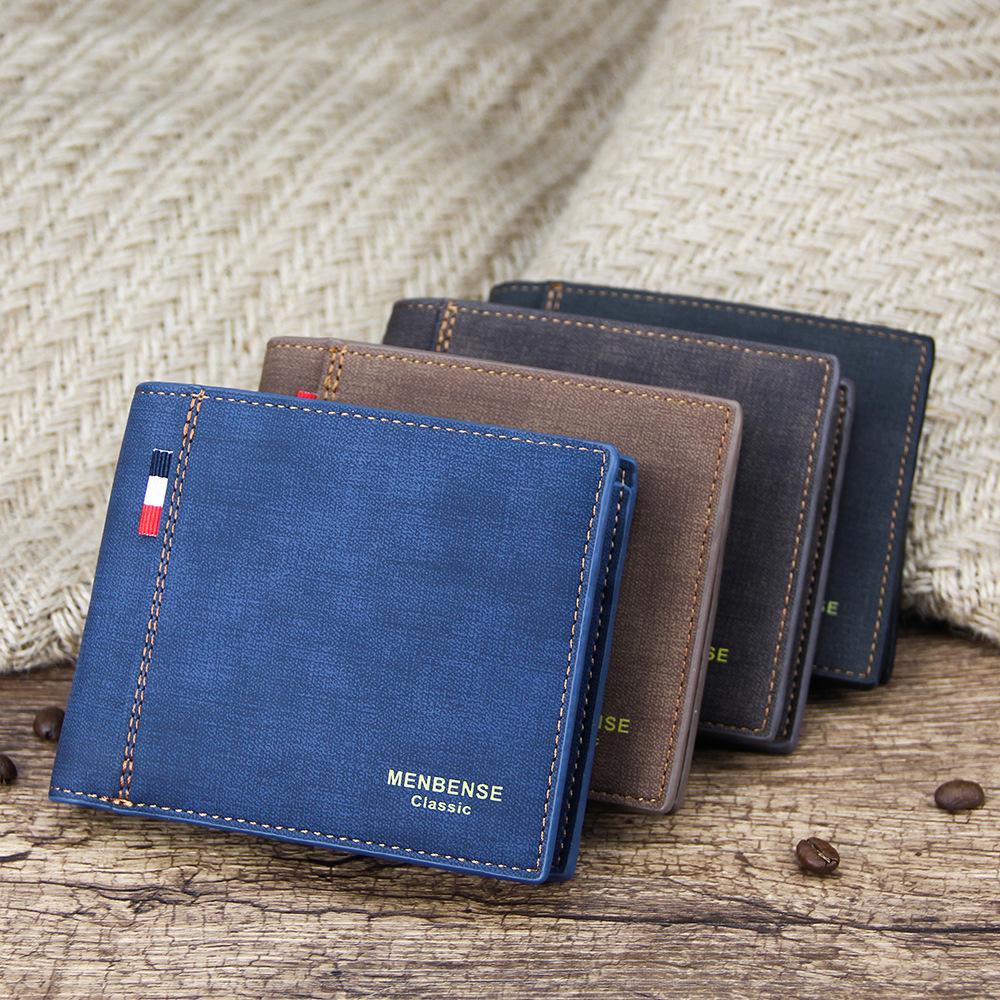 Men's Wallet Money Bag Solid Color Leather Business Short Wallet Famous Vintage Male Walltes Purse