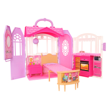 Fashion 126Items/Set Kids Toys = 1 Dollhouse + 15 Doll CLothes Dresses + 110 Accessories Shoes For Barbie Dressing Game DIY Gift