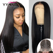 YYong Peruvian Straight 1x4 & 1x6 T Part Transparent Lace Part Wigs Remy Human Hair Wig With Natural Hairline 120 30 32inch