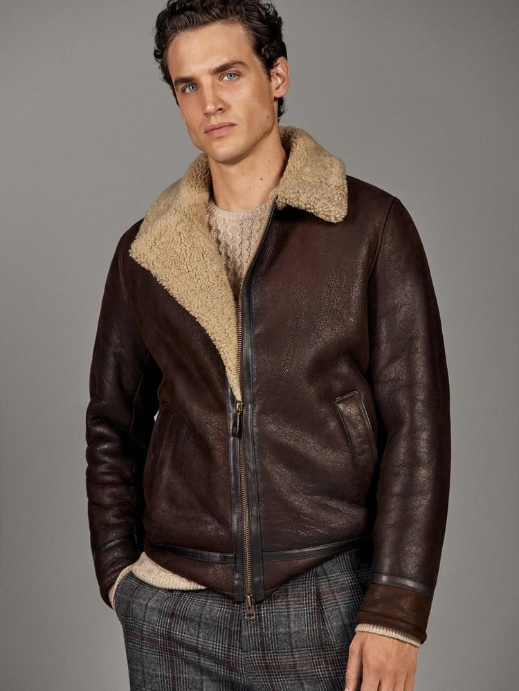 Free Shipping,Winter Thick Genuine Sheepskin Coat,B3 Wool Shearling,warm Fur Jacket,mens Plus Size Genuine Leather Jackets.