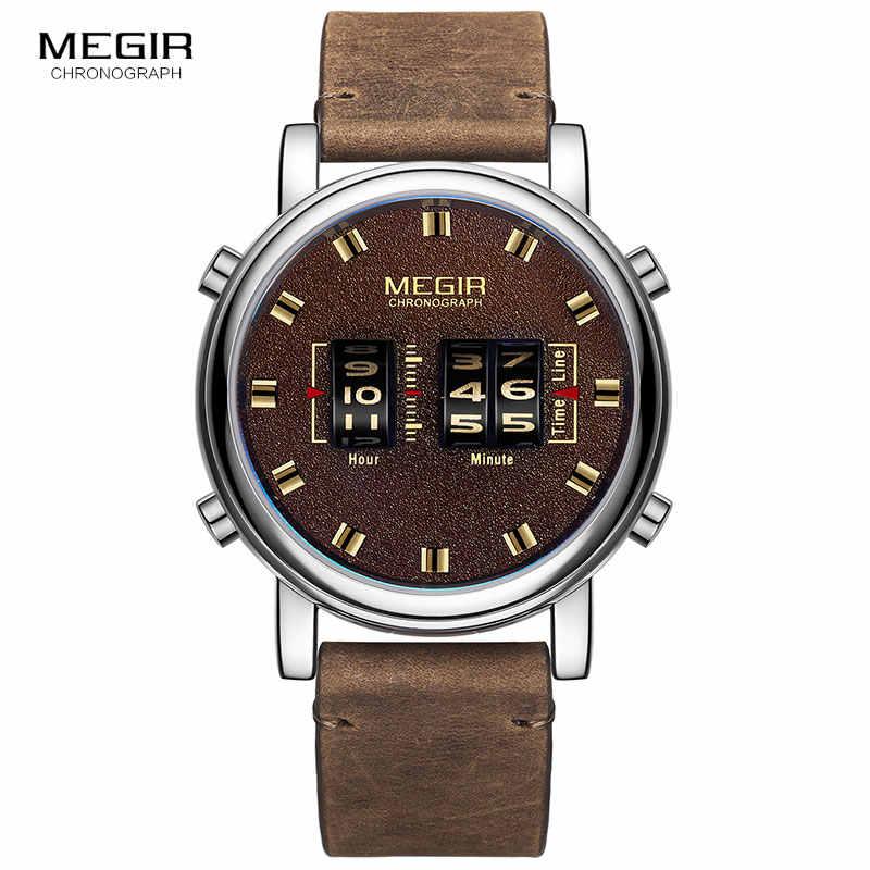 MEGIR relojes de pulsera de cuarzo de cuero deportivos militares para hombre, relojes de pulsera de lujo Masculino 2019
