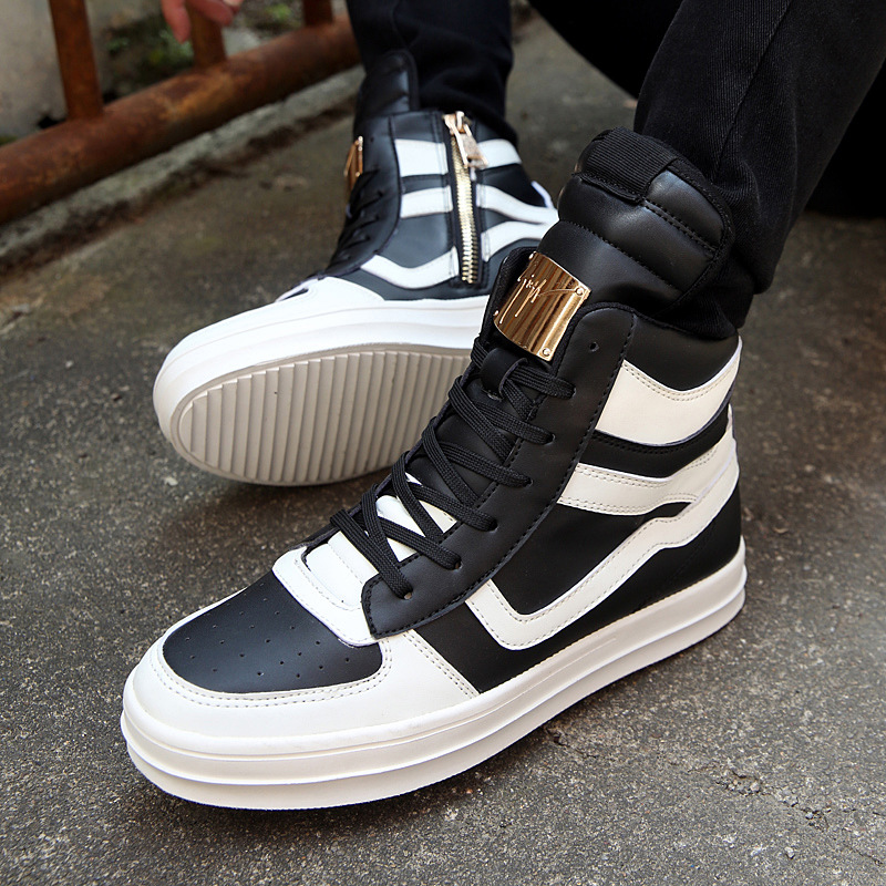 Men Fashion Shoes Winter Brand Casual Breathable Canvas High Top Shoes Lace Up Rubber Sole PU Leather Trainers Boots