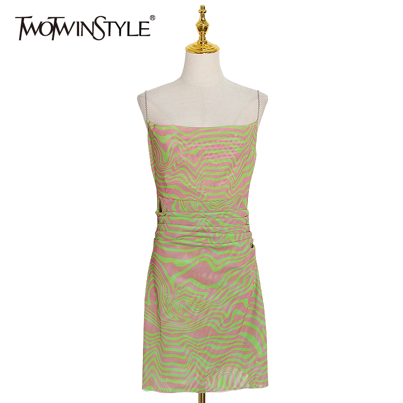TWOTWINSTYLE Casual Prin Women Dress Square Collar Sleeve Spaghetti Strap High Waist Hit Color Mini Dresses Female Clothes Tide