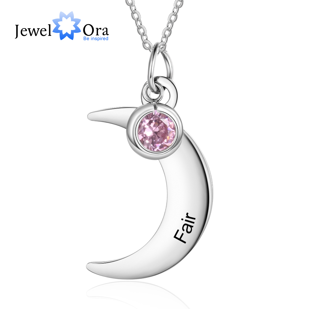 Personalized Stainless Steel Moon Necklace With Birthstone Customized Name Necklaces For Women Party Jewelry (JewelOra NE103783)
