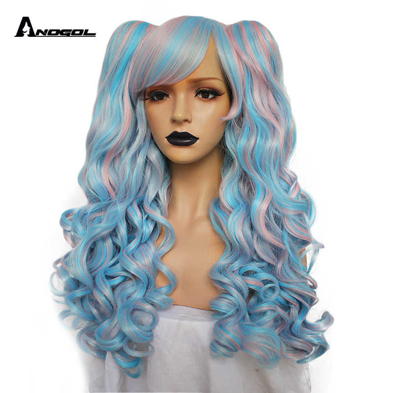ANOGOL Blue Pink Heat Resistant fiber Long Body Wave Lolita Cosplay Wig Purple Multi color Side fringe Synthetic Wig 2 Ponytails