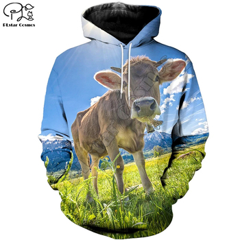 PLstar Cosmos 3DPrint New Fashion Animal Cow Cattle Harajuku Streetwear Funny Casual Man and Woman Hoodies/Sweatshirt/Jacket/-a4