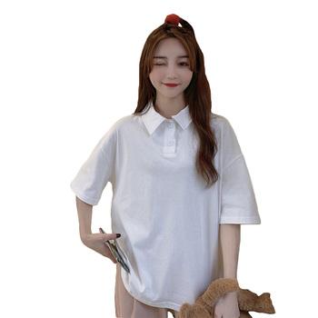 Biała koszula damska 2021 letnia koszulka Polo damska koreański styl moda damska odzież z krótkim rękawem biała koszulka Polo topy Femme tanie i dobre opinie Prowow SHORT CN (pochodzenie) Na wiosnę jesień COTTON Stałe Dla osób w wieku 18-35 lat Na co dzień Termiczne Zapobiega marszczeniu