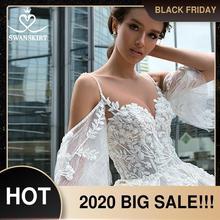 רומנטי חרוזים פרחי חתונה שמלת Swanskirt F130 מתוקה אפליקציות תחרת Vestido דה Noiva אונליין משפט רכבת כלה שמלה