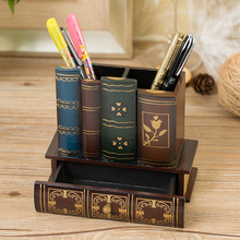 Retro creative solid wood wooden pen ornaments home office study desktop decorations storage box crafts