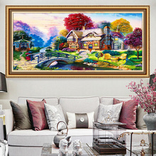 Cabin Landscape Large Picture Needlework,DIY Living Room Printed Cross stitch,Sets For Embroidery Kit Full Silk Thread