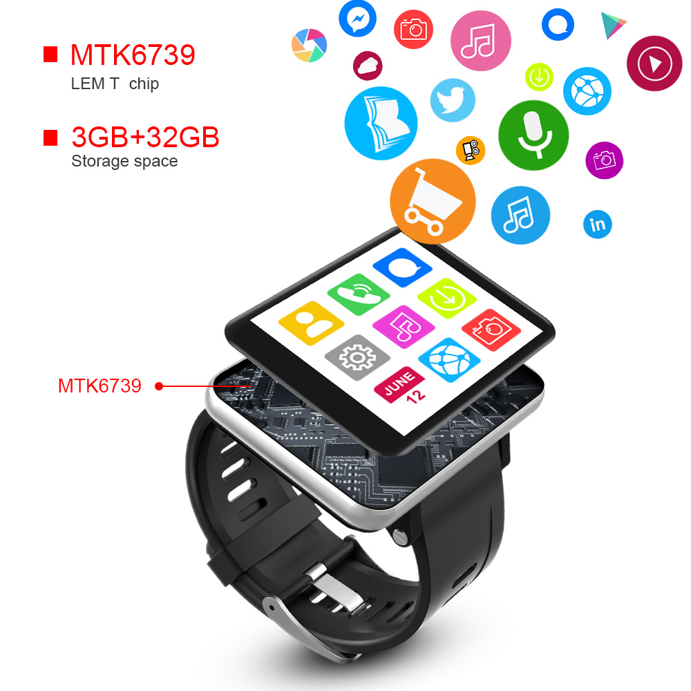 Image 5 - LEMFO LEM T 4G 2.86 Inch Screen Smart Watch Android 7.1 3GB 32GB 5MP Camera 480*640 Resolution 2700mah Battery Smartwatch Men-in Smart Watches from Consumer Electronics