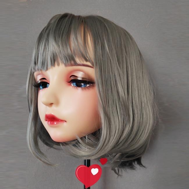 Latex Female Sweet Girl Half Head Kigurumi Mask With BJD Eyes Cartoon Cosplay