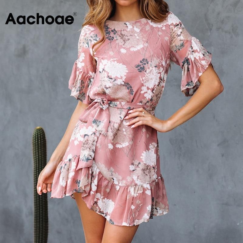 Aachoae 2020 Summer Floral Print Mini Dress Women O Neck Ruffle Elegant Sashes Dresses Ladies Short Sleeve Casual Beach Sundress