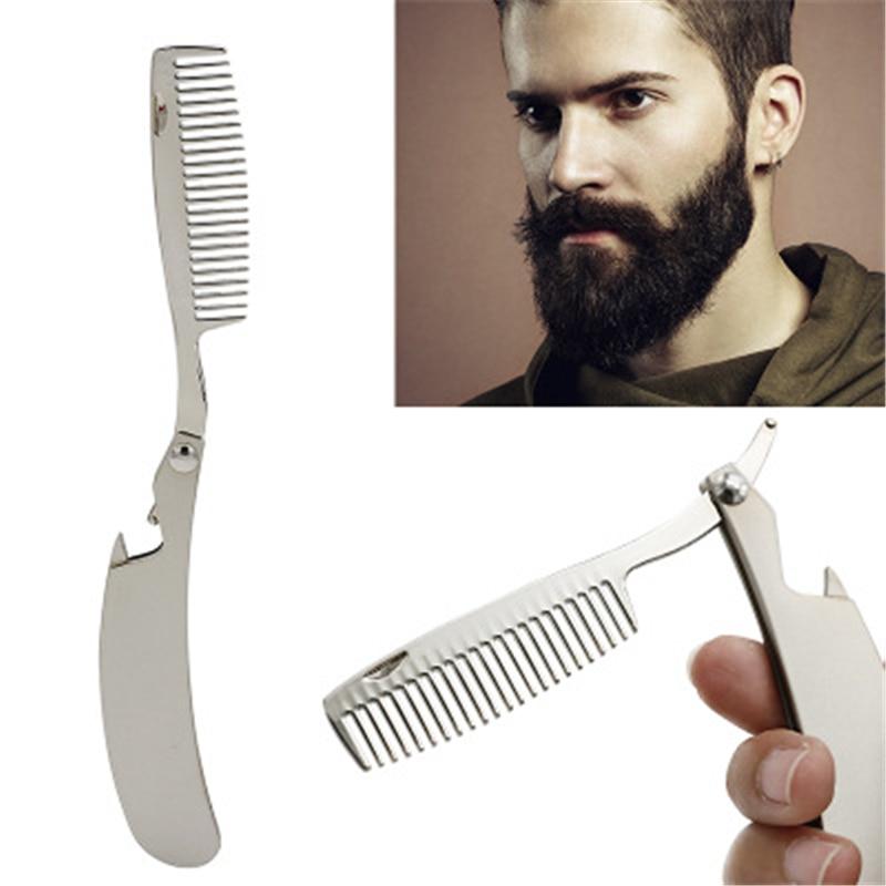 Men's Mustache Comb Anti Static Stainless Steel Folding Combs Bottle Opener Pro Folding Comb 10*2cm 1PC