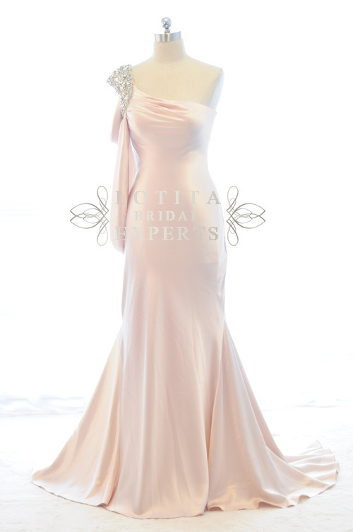 Free Shipping 2016 New Hot&sexy One Shoulder Vestidos De Festa Crystal Pink Long Floor Length Party Gown Elegant Evening Dress