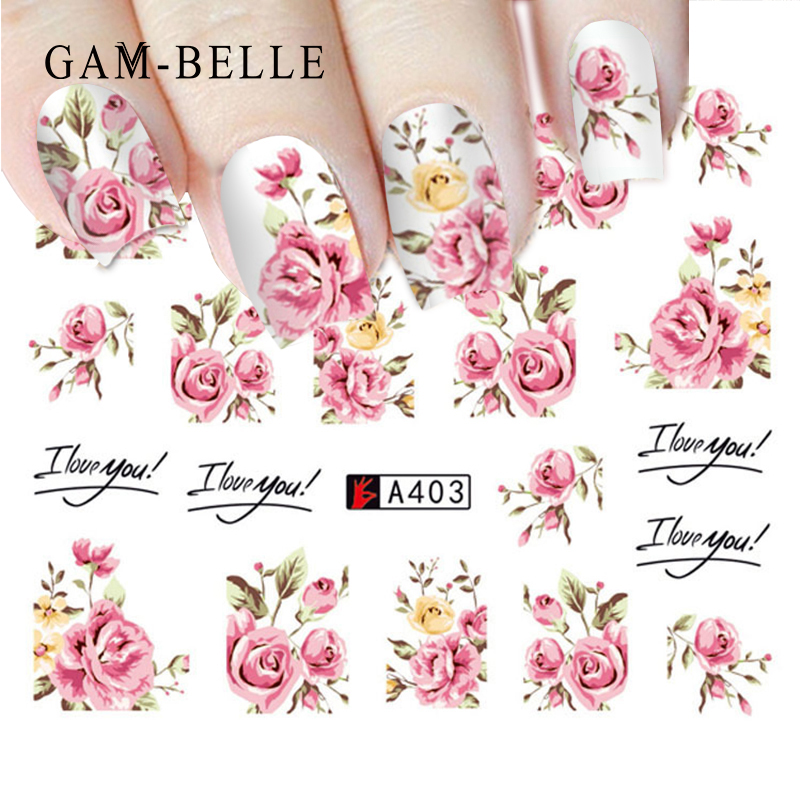 GAM-BELLE Flower Series Nail Art Water Transfer Stickers Full Wraps Rose/Lavender Nail Tips DIY