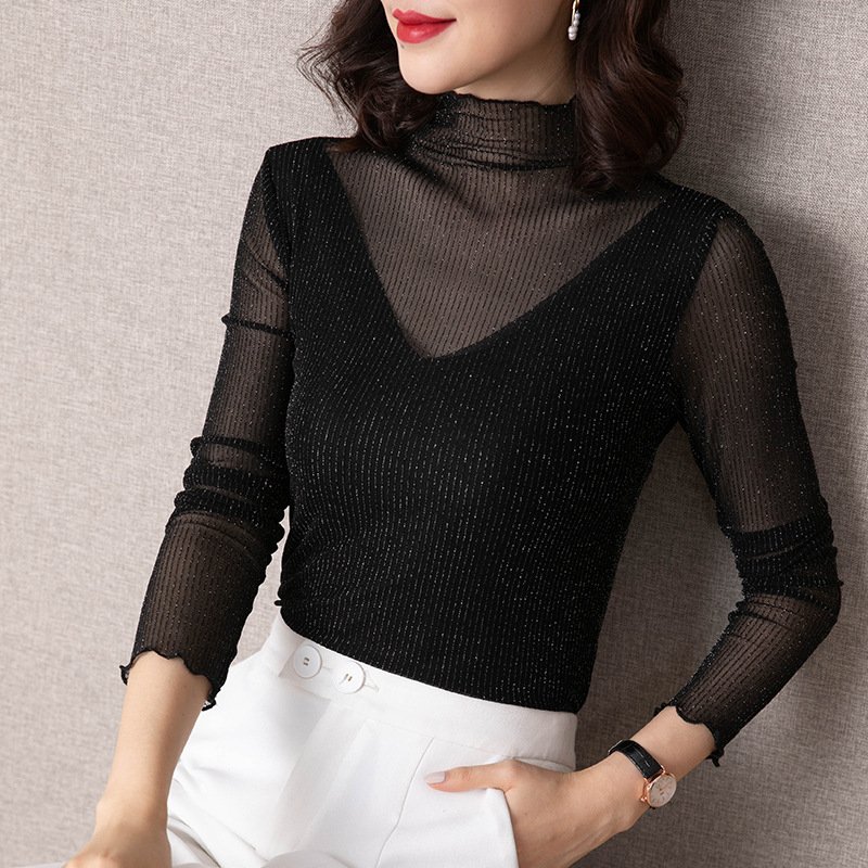 Elegant Plus Size Turtleneck Slim Mesh Tops for Woman Long Sleeve Transparent Ladies Shirts Shinning Ruffle Female Tops Outwear