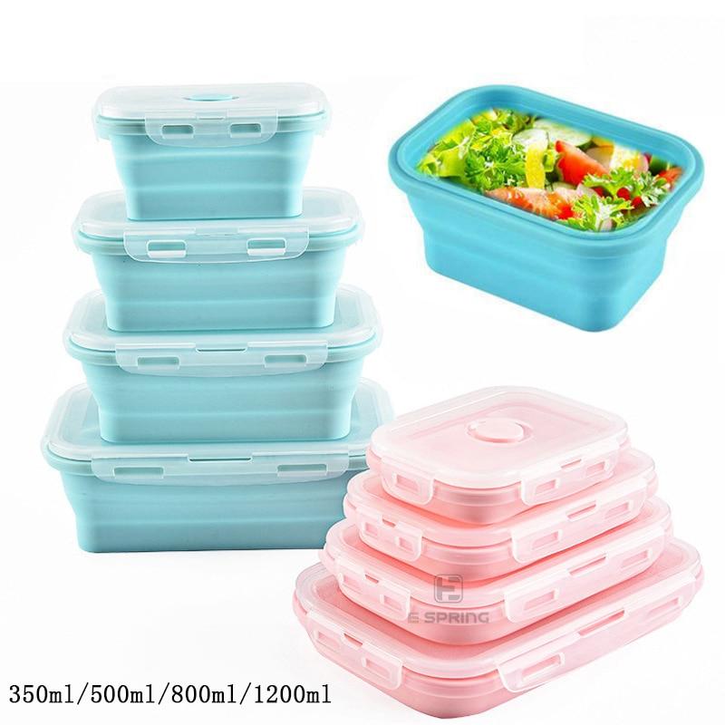 Ev ve Bahçe'ten Öğle Yemeği Kutuları'de Silikon katlanabilir mikrodalga Bento yemek kabı taşınabilir sağlıklı malzeme yemek kabı gıda saklama kabı Foodbox 1Pc/3Pc title=