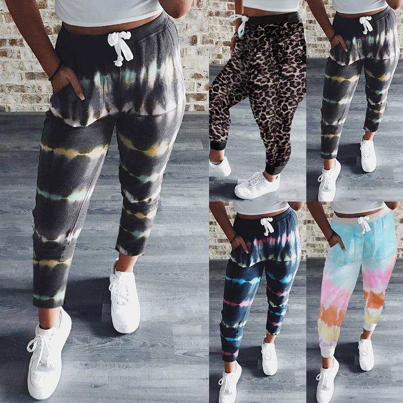 Spring Autumn Women's clothing Tie dye printing Sweatpants women capris Loose Casual trousers Streetwear Drawstring Women pants