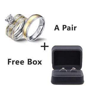 Image 2 - Anillos de boda para pareja, juego de anillos de circonia cúbica para mujer, anillo de titanio para hombre y mujer, accesorios 2019
