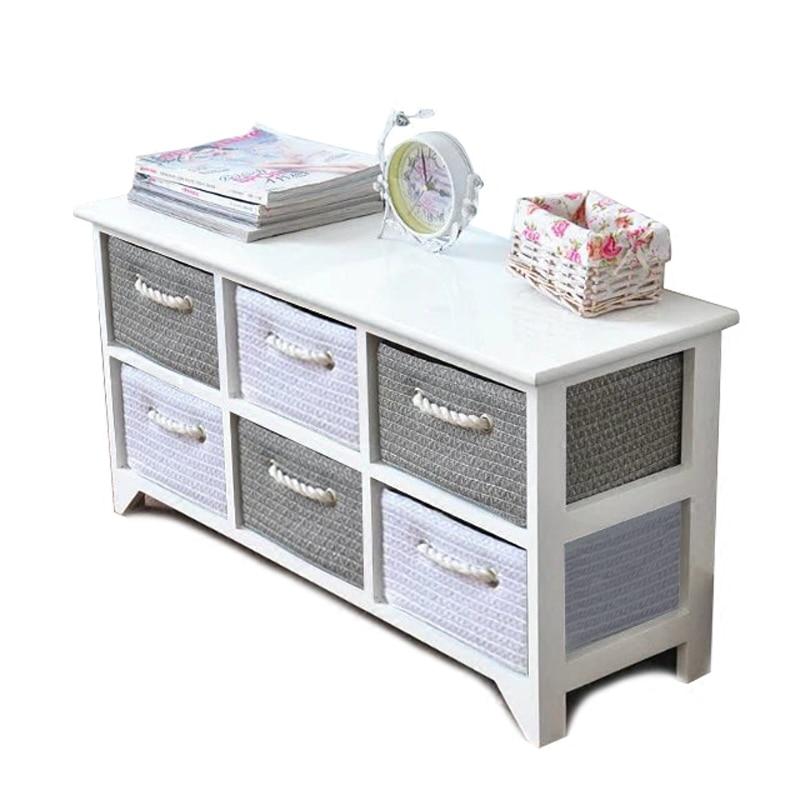 Modern Solid Wood White Rattan Bedside Table Simple Drawer Garden Storage Cabinet Bedroom Corner Cabinet
