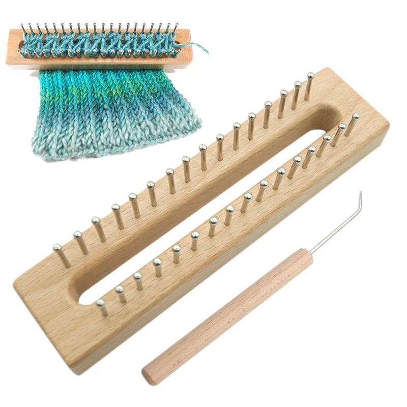 Handmade 32-Pins Wooden Knitting Loom Board Fine Gage Loom Hook And Needle Gifts