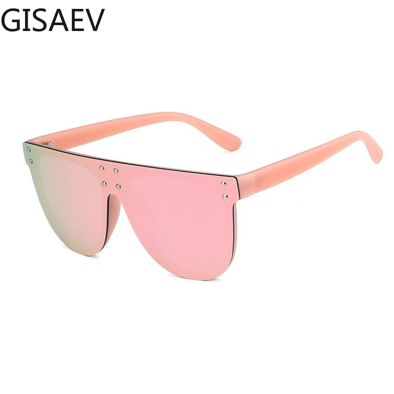 Rivet Siamese Oversized Sunglasses Women Luxury Color Film Reflective Driving Glasses Women Large Sunglasses Men Fashion Glasses